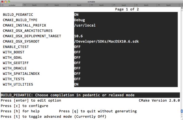Running CCMake in OS X